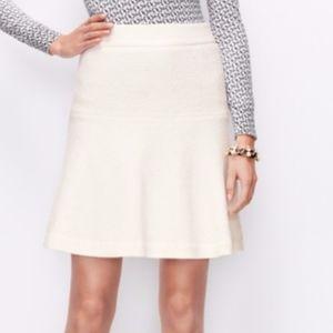 Ann Taylor Cream Boiled Wool Flutter Skirt Size 14